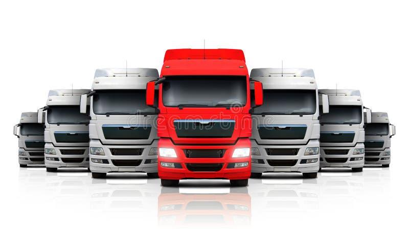 Groupe du camion blanc avec un rouge dirigé illustration libre de droits