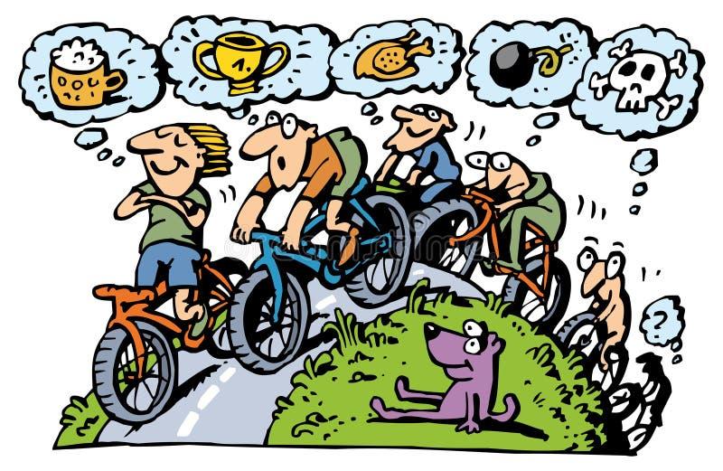 Groupe faisant du vélo illustration de vecteur