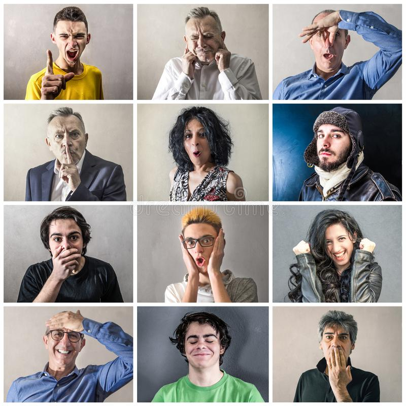 Groupe fou d'expressions image stock