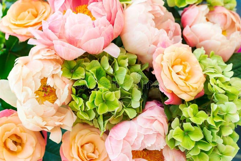 Groupe frais de pivoines et de roses roses  images libres de droits