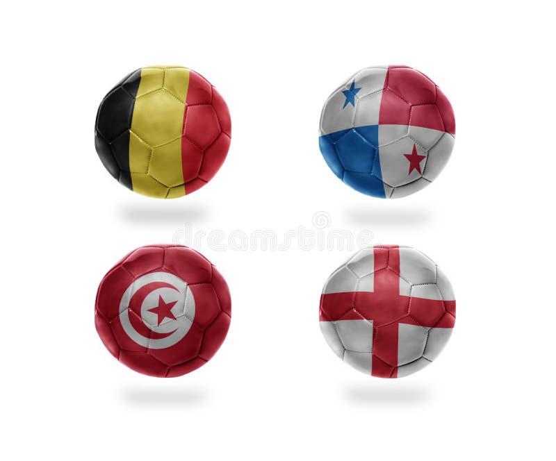 Groupe G d'équipe de football boules du football avec les drapeaux nationaux de la Belgique, Panama, Tunisie, Angleterre illustration de vecteur