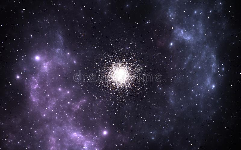 Groupe globulaire, collections sphériques d'étoiles antiques qui satellise un noyau galactique illustration libre de droits