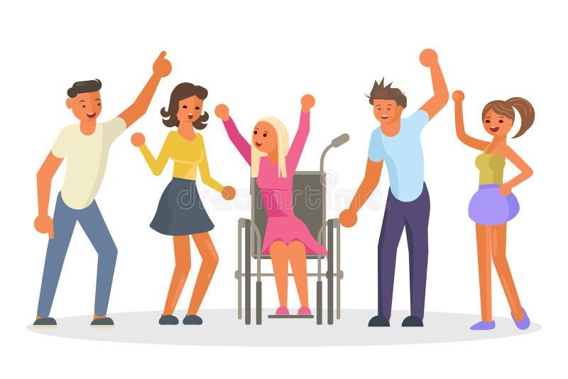 Groupe heureux d'égalité des chances d'étudiants illustration stock
