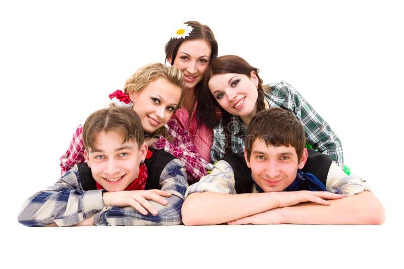 Groupe heureux de sourire d'amis photos stock
