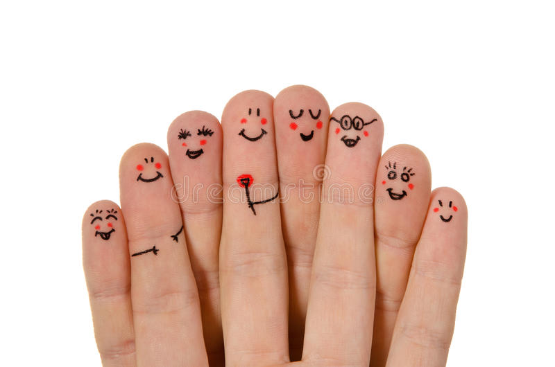 Groupe heureux de smiley de doigt photos libres de droits