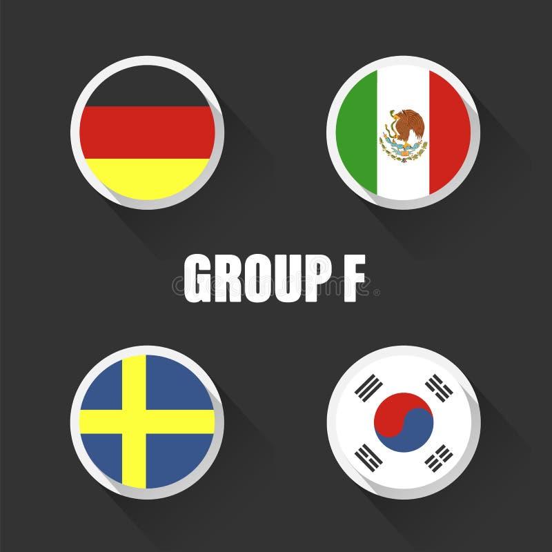 Groupe le championnat du monde du football en Russie Drapeaux de pays d'illustration de vecteur illustration stock