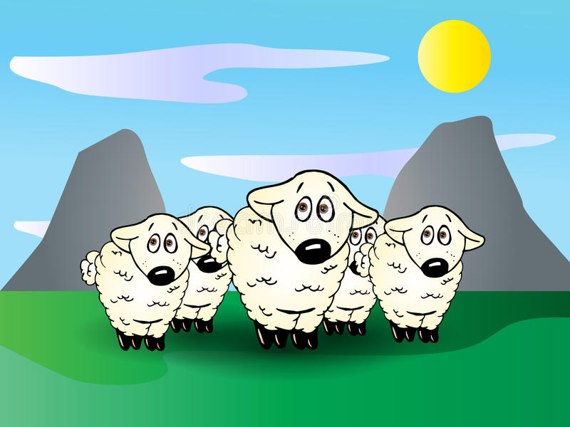 Groupe mignon d'agneaux illustration stock