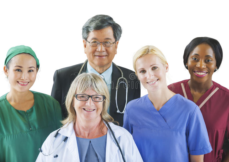 Groupe multi-ethnique de médecins image libre de droits