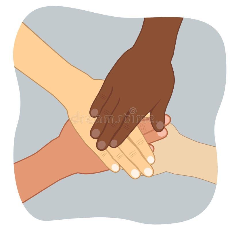 Groupe multi-ethnique des jeunes mettant leurs mains sur l'un l'autre illustration de vecteur