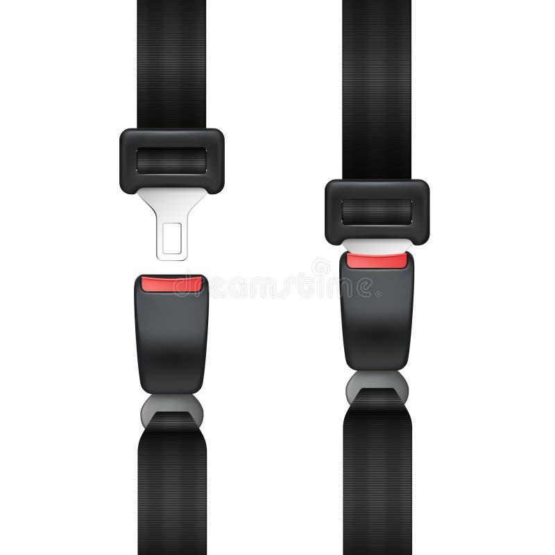 Groupe réaliste de vecteur de la ceinture de sécurité ouverte et fermée d'isolement sur le fond blanc - transport sûr illustration de vecteur