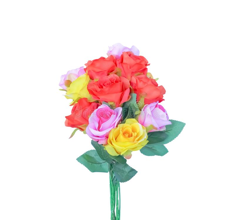 Groupe rose artificiel de fleur sur le fond blanc avec le chemin de coupure images stock