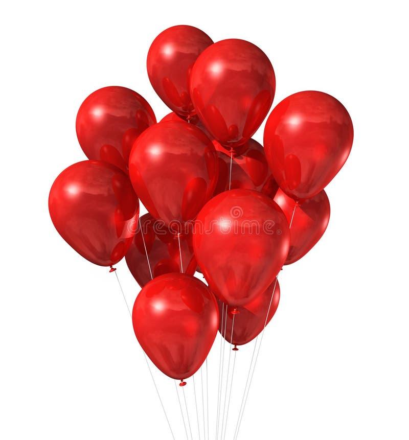 Groupe rouge de ballons d'isolement sur le blanc illustration libre de droits