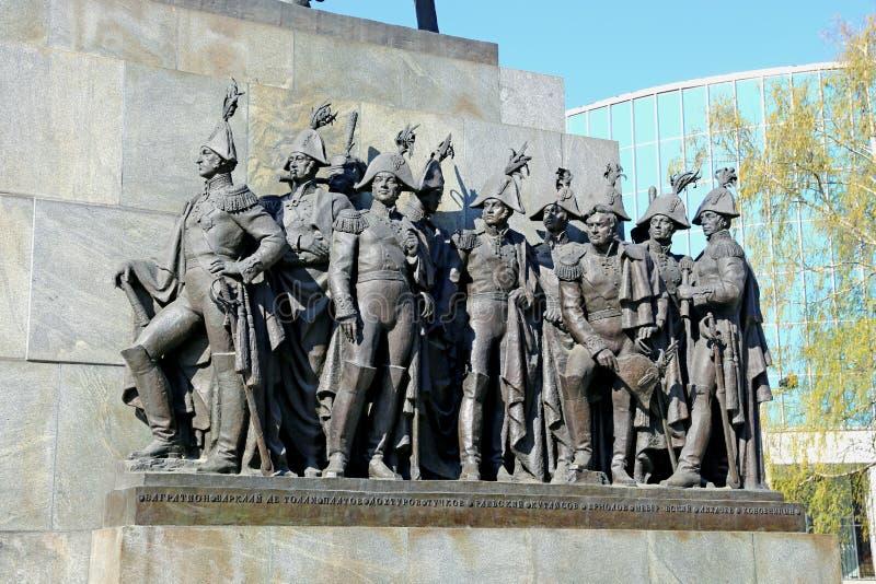 Groupe sculptural de généraux russes qui ont combattu avec le napoléon images stock
