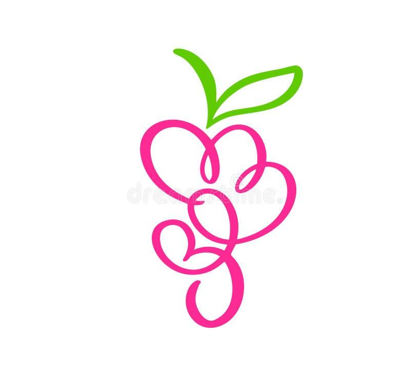 Groupe tiré par la main de vecteur de fruit d'icône de griffonnage d'ensemble de raisins Groupe d'illustration de croquis de rais illustration libre de droits