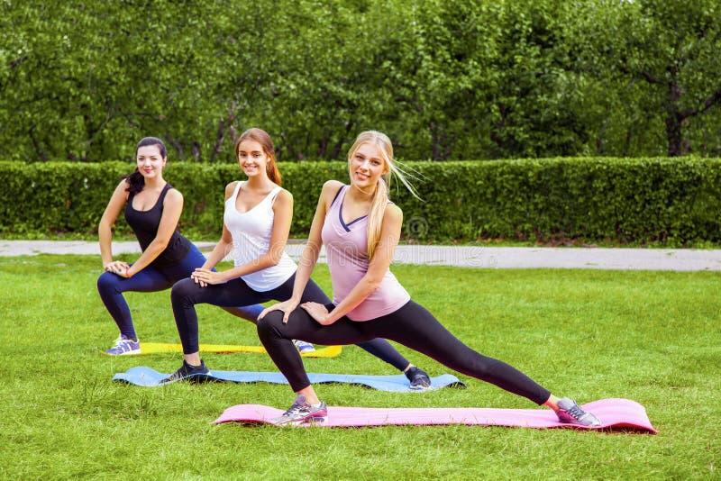 Groupe van mooie gezonde slijmerige jonge vrouwen die exersices op het groene gras in het park doen, die benen streching, die cam royalty-vrije stock afbeelding