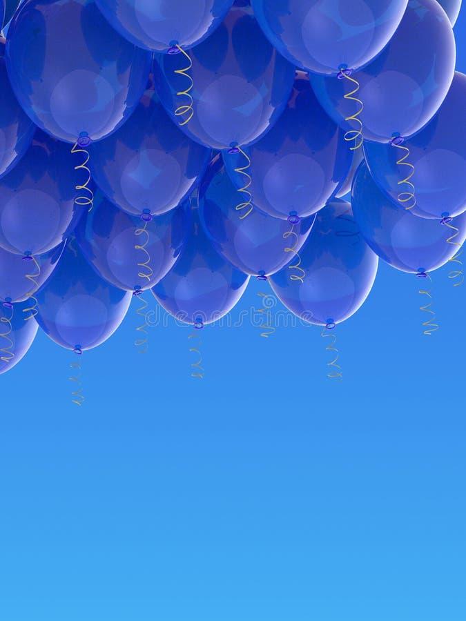 Grouped blue helium balloons with ribbons on blue sky. Arranged blue helium balloons with shiny ribbons, floating on blue sky background. Celebration, joy stock photography
