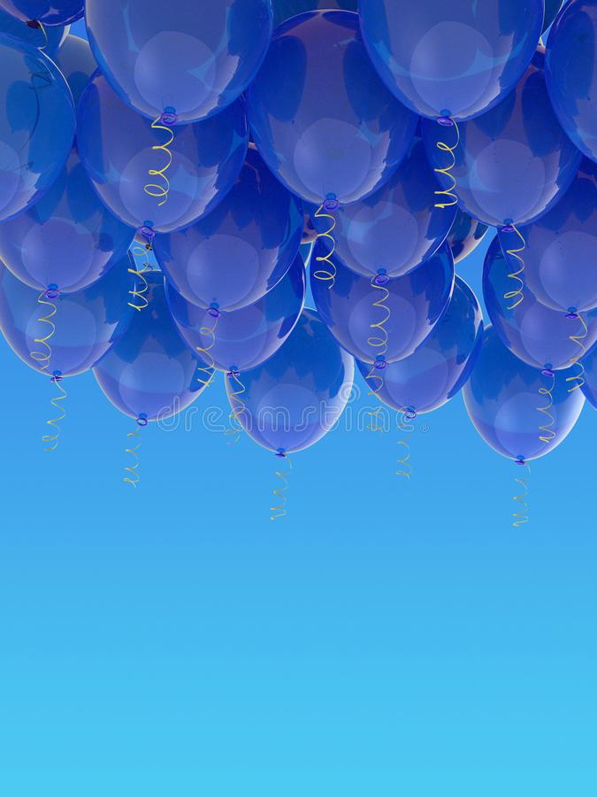 Grouped blue helium balloons with ribbons on blue sky. Arranged blue helium balloons with shiny ribbons, floating in the blue sky. Celebration, joy, freedom stock photography