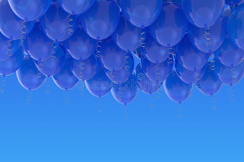 Grouped blue helium balloons with ribbons on blue sky. Arranged blue helium balloons with shiny ribbons, floating on blue sky background. Celebration, joy stock images
