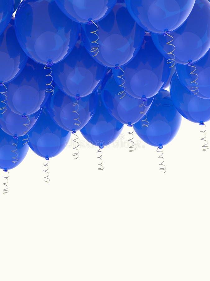 Grouped blue helium balloons with ribbons on white. Arranged blue helium balloons with shiny ribbons, floating on white background. Celebration, joy, freedom stock photos