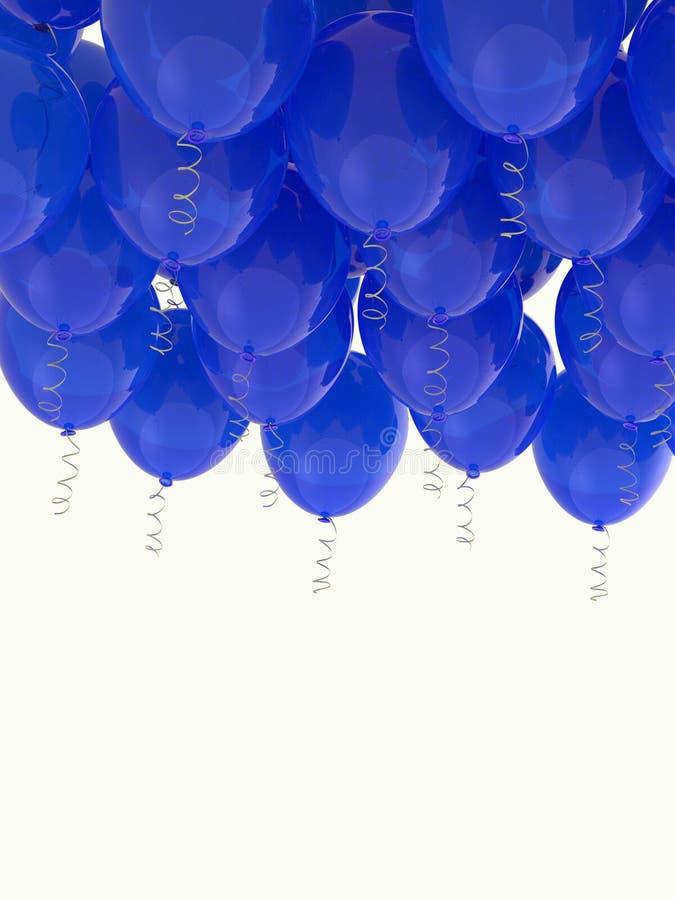 Grouped blue helium balloons with ribbons on white. Arranged blue helium balloons with shiny ribbons, floating on white background. Celebration, joy, freedom royalty free stock photo