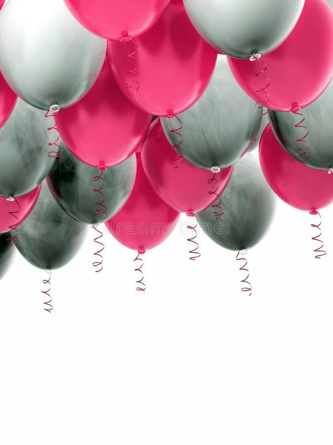 Grouped pink and white helium balloons with ribbons. Arranged pink and white helium balloons with shiny ribbons, floating on white background. Celebration, joy stock images