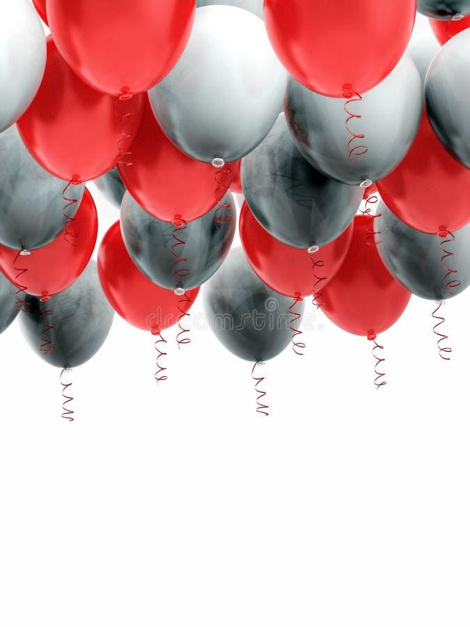 Grouped red and white helium balloons with ribbons. Arranged red and white helium balloons with shiny ribbons, floating on white background. Celebration, joy stock images