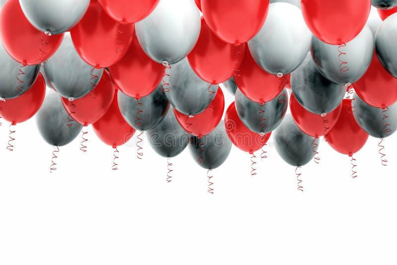 Grouped red and white helium balloons with ribbons. Arranged red and white helium balloons with shiny ribbons, floating on white background. Celebration, joy royalty free stock image