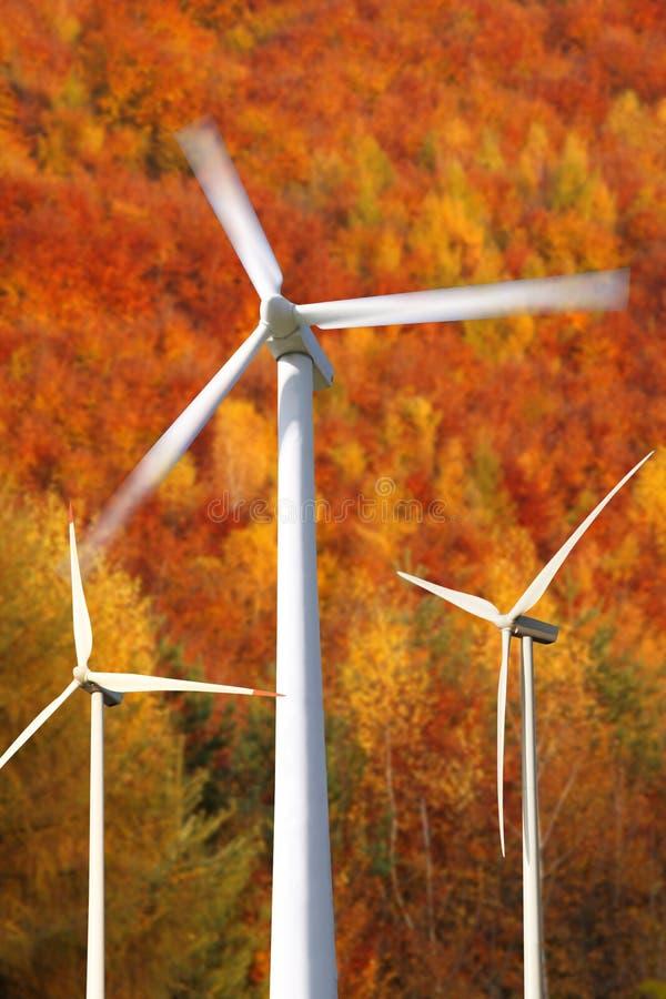 groupes électrogènes de moulins de vent contre la forêt image stock