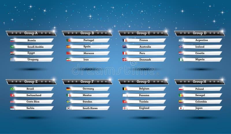 Groupes 2018 de championnat du monde du football avec des drapeaux de pays illustration libre de droits
