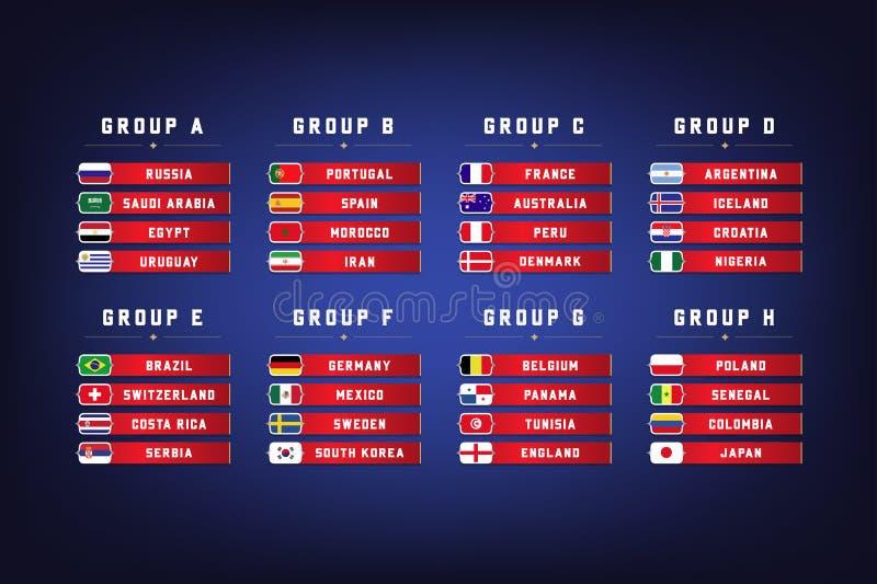 Groupes de championnat du monde du football Graphique d'infos de drapeaux de nations illustration stock