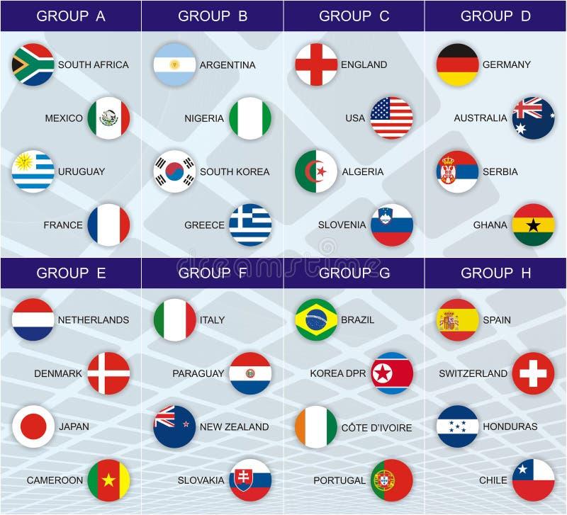 Groupes de la coupe du monde 2010 image stock