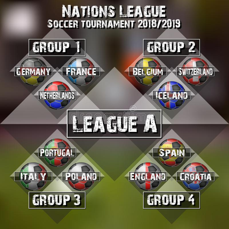 Groupes de ligue de nations du football illustration stock