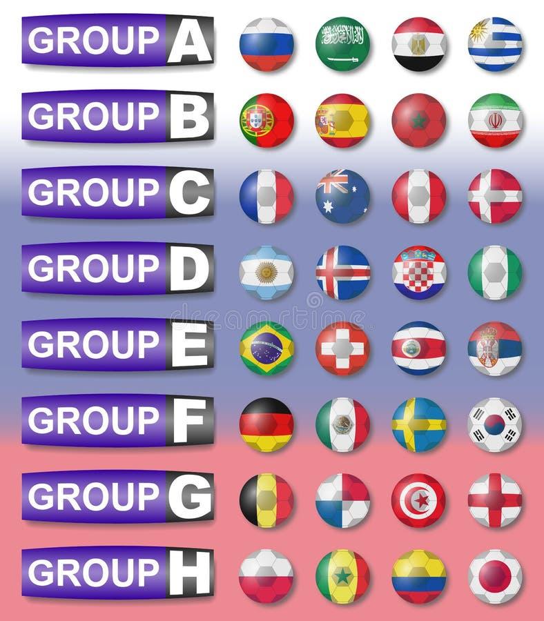 Groupes du football de drapeaux illustration libre de droits