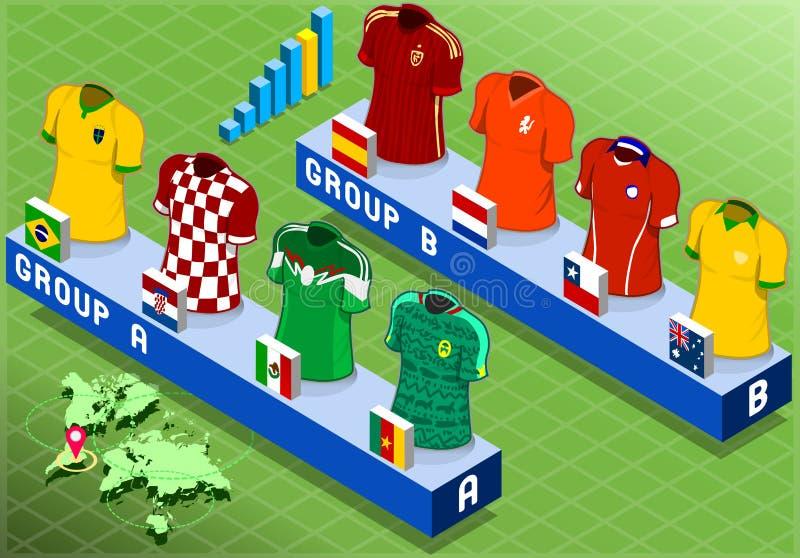 Groupes isométriques de nations pour la coupe du monde du football illustration stock