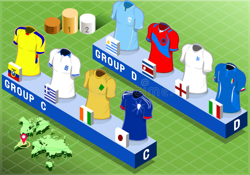 Groupes isométriques de nations pour la coupe du monde du football illustration de vecteur