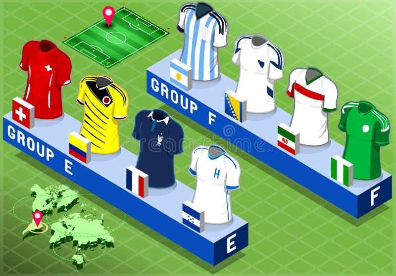 Groupes isométriques de nations pour la coupe du monde du football illustration libre de droits