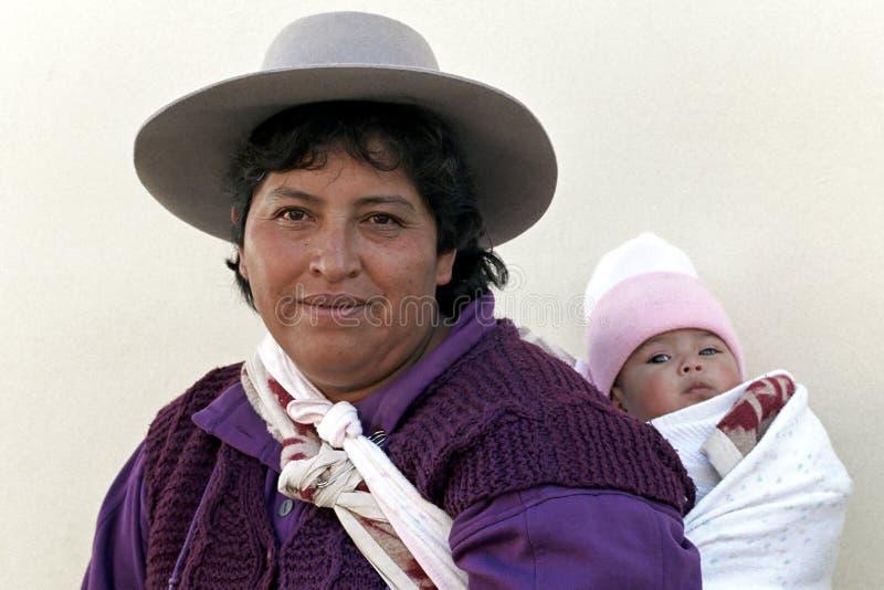 Groupez le portrait de la mère et de l'enfant indiens, Argentine image stock