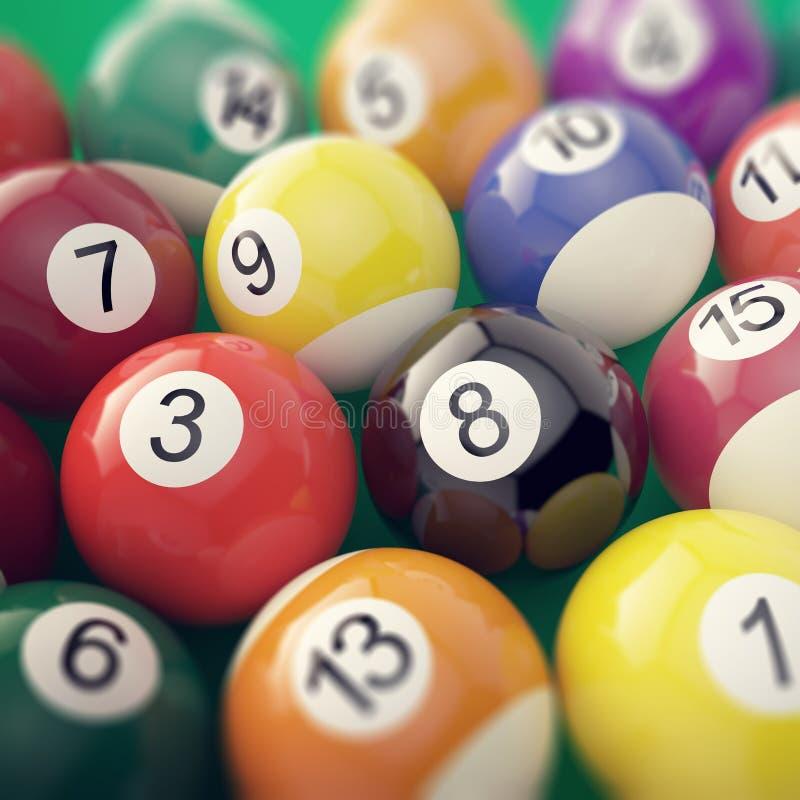 Groupez les boules brillantes colorées de jeu de piscine de billard avec la profondeur de l'effet de champ illustration 3D illustration libre de droits