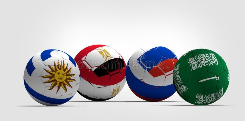 Groupez les boules d'un football du football de l'Arabie Saoudite Uruguay Egypte Russie illustration libre de droits