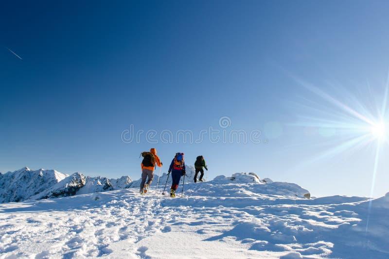 Groupez les randonneurs en montagnes d'hiver, beau paysage et ciel bleu photos stock