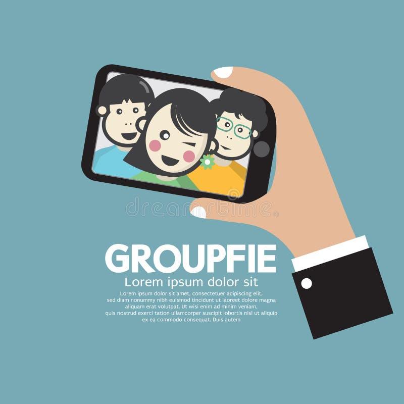 Groupfie每由电话的小组Selfie 向量例证