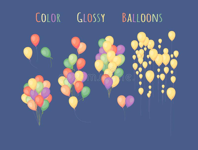 Groups of colorful balloons. Bunch of balloons in cartoon flat style isolated on blue background stock illustration