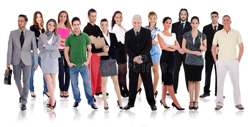 Groups of diffrent people in one line royalty free stock photos