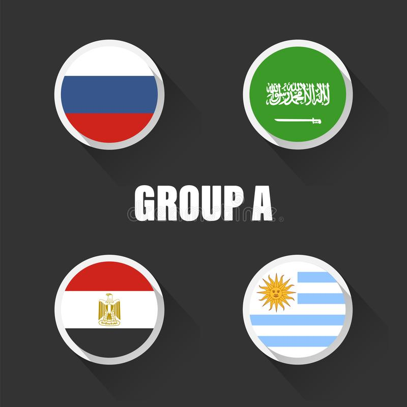 Groups football world championship in Russia. Vector illustration country flags royalty free illustration