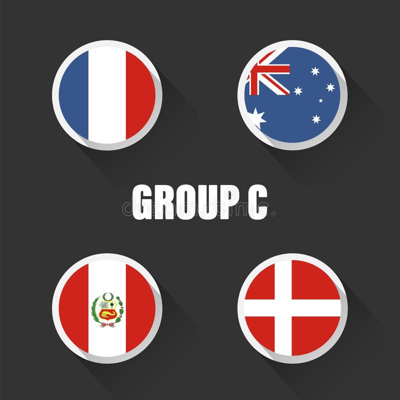 Groups football world championship in Russia. Vector illustration country flags stock illustration