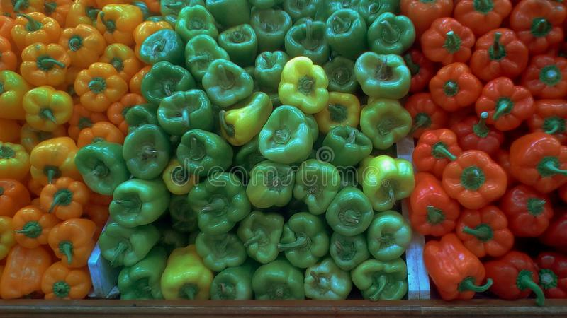 Color peppers. Groups of fresh healthy orange peppers,green peppers and red peppers arranged each near other for sale royalty free stock photography
