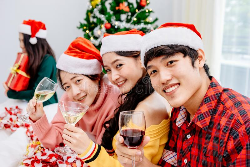 Asian People in Christmas Party royalty free stock photos