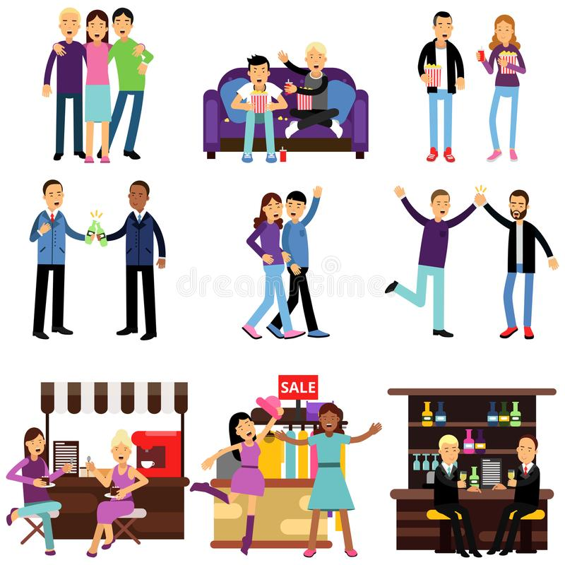 Groups of girls and boys best friends having good time together, flat characters set royalty free illustration