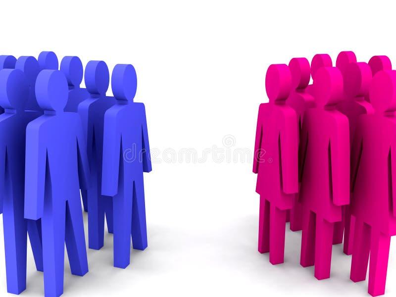 Groups of men and women. stock illustration