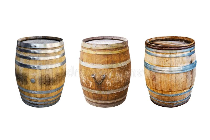 Groups old wooden barrel for champagne, wine, whiskey, rum, beer, with steel ring royalty free stock photos